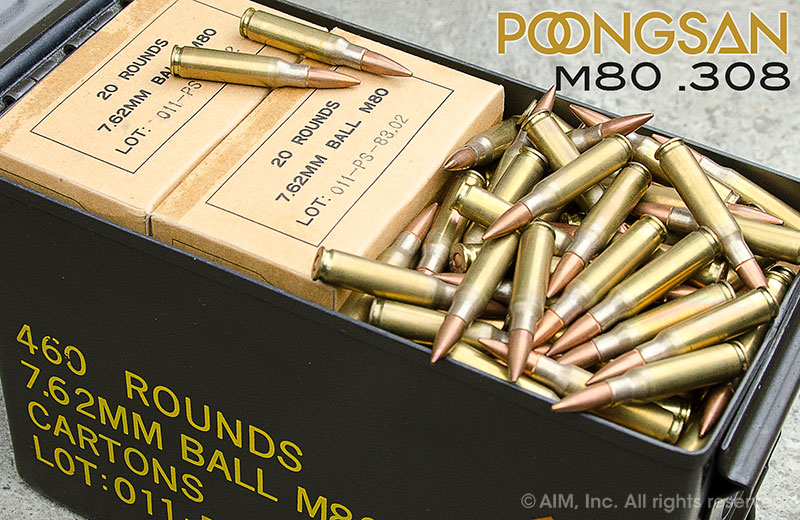 South Korean Mfd 7.62X51 (.308) M80 146GRN FMJ 460rd CAN