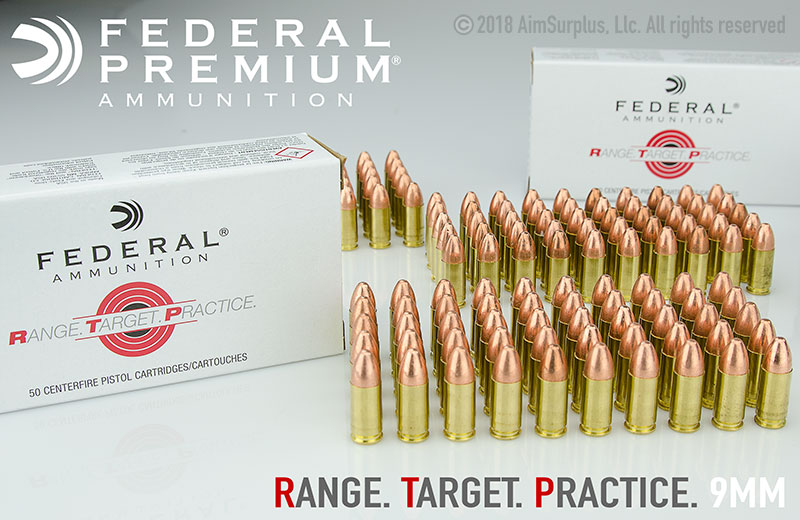 Federal Range Target Practice 9mm 115grn FMJ 50rd box