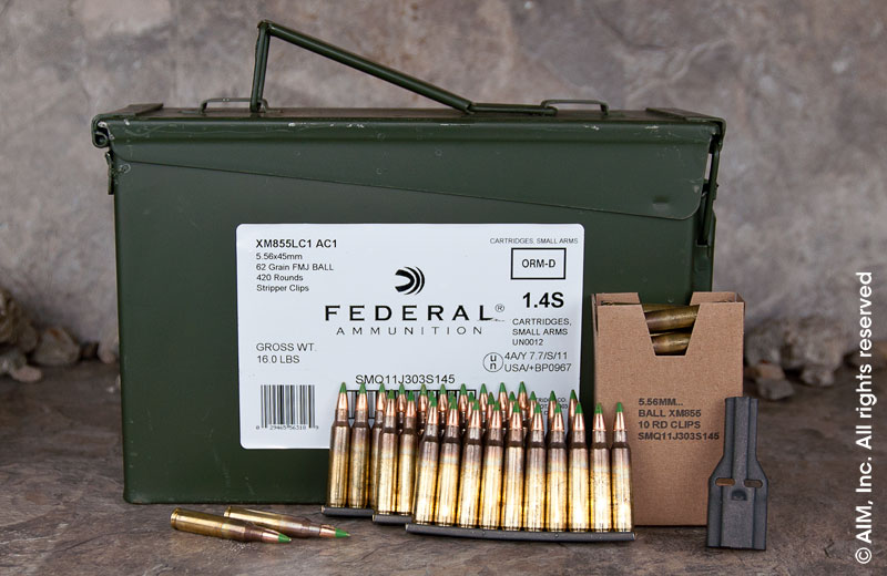 Federal .223/5.56 XM855 62grn FMJ 420rd Can
