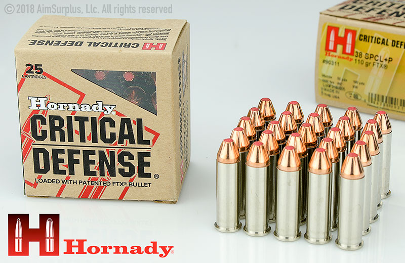 Hornady Critical Defense . 38spl +P 110grn FTX 25rd box