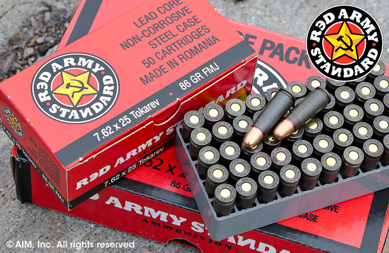 Red Army 7.62x25 Tokarev 86grn FMJ 50rd Box