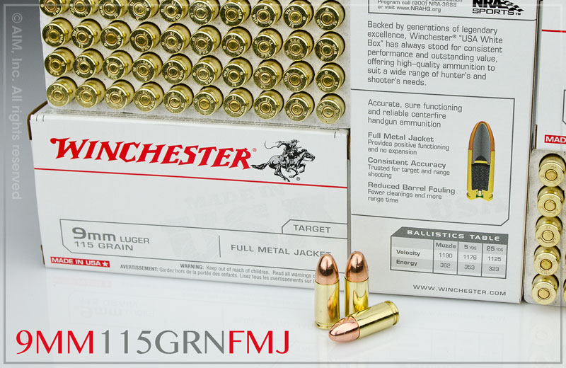 Winchester 9mm FMJ 115gn 50rd Box