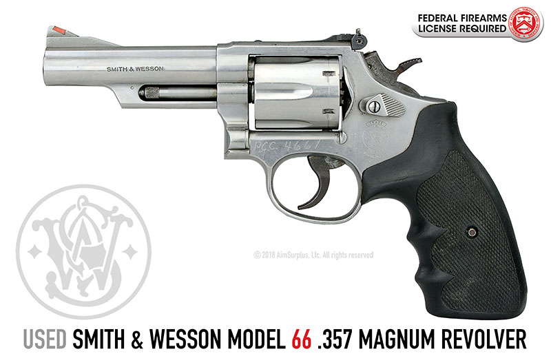 Smith & Wesson Model 66 4 in. Bbl Stainless 357 Magnum Revolver (LEO Trade-In)