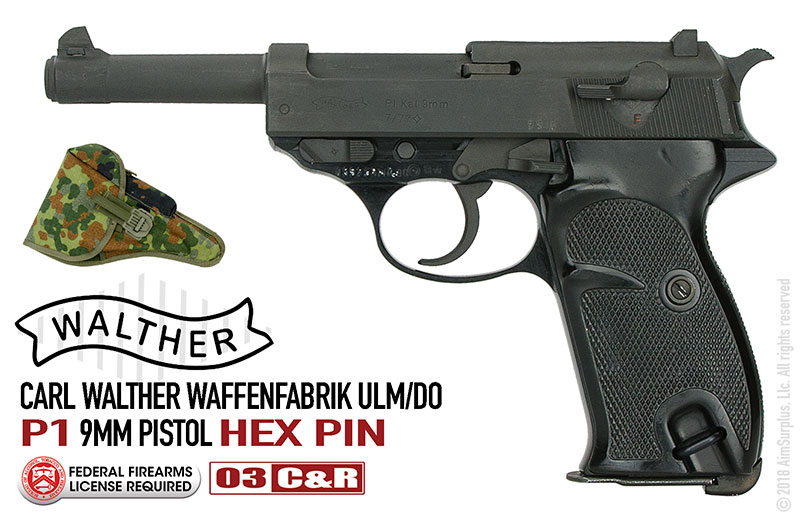 German Walther P1 HEX PIN 9mm Pistol