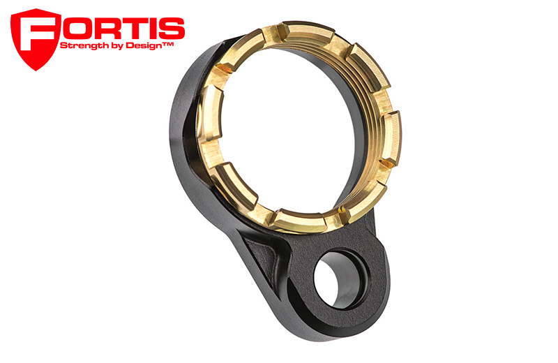 Fortis LE™ Lightweight Enhanced AR15 End Plate K1 System (Tapered) Castle Nut  Gold
