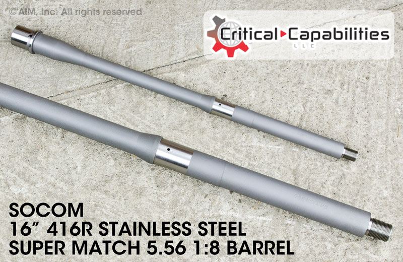 "Critical Capabilities Supermatch SOCOM .223/5.56 16"" Stainless Steel Barrel"