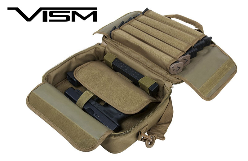 NcStar VISM Shooters Gear Double Pistol/Range Bag Tan