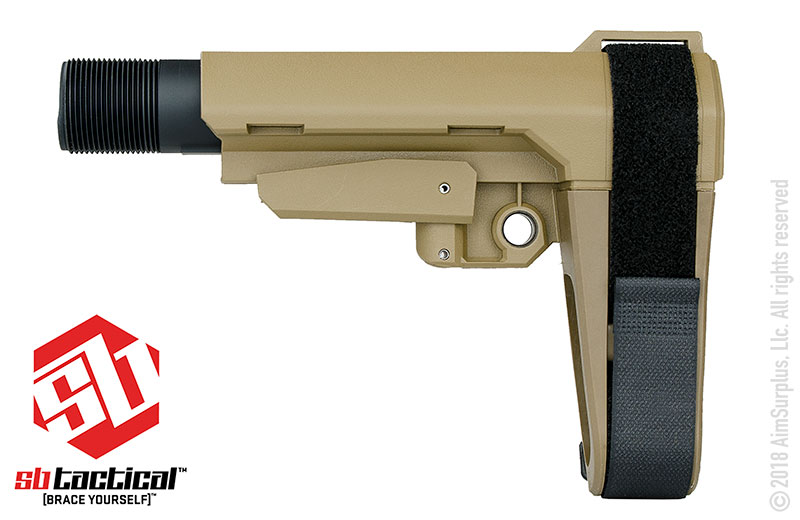 SB Tactical SBA3 Brace W/ Mil-Spec Carbine Buffer Tube -FDE