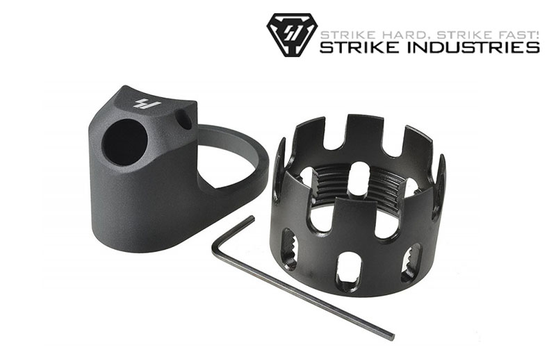 Strike Industries AR Enhanced Castle Nut and Extended End Plate - Black