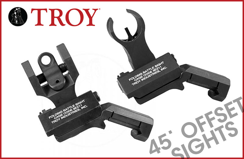 Troy Industries Offset Sight Set, HK Front & Round Rear -BLK