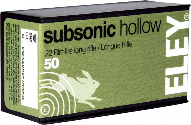 ELEY SUBSONIC HOLLOW POINT 22LR 40GR. 50 PACK