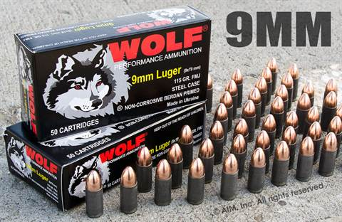 WOLF 9mm 115grn FMJ 50rd Box