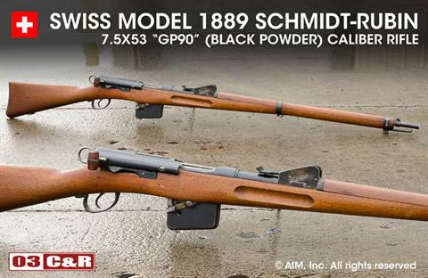 Swiss Model 1889 7.5x53 (GP90 Black Powder) Schmidt Rubin Rifle