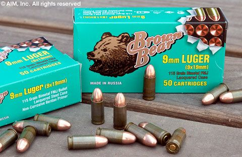 Brown Bear 9mm 115grn FMJ 50rd box
