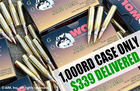 WOLF GOLD .223 55grn FMJ 1,000rd Case