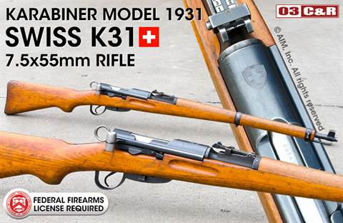 Swiss K31 7.5x55 Rifle Package